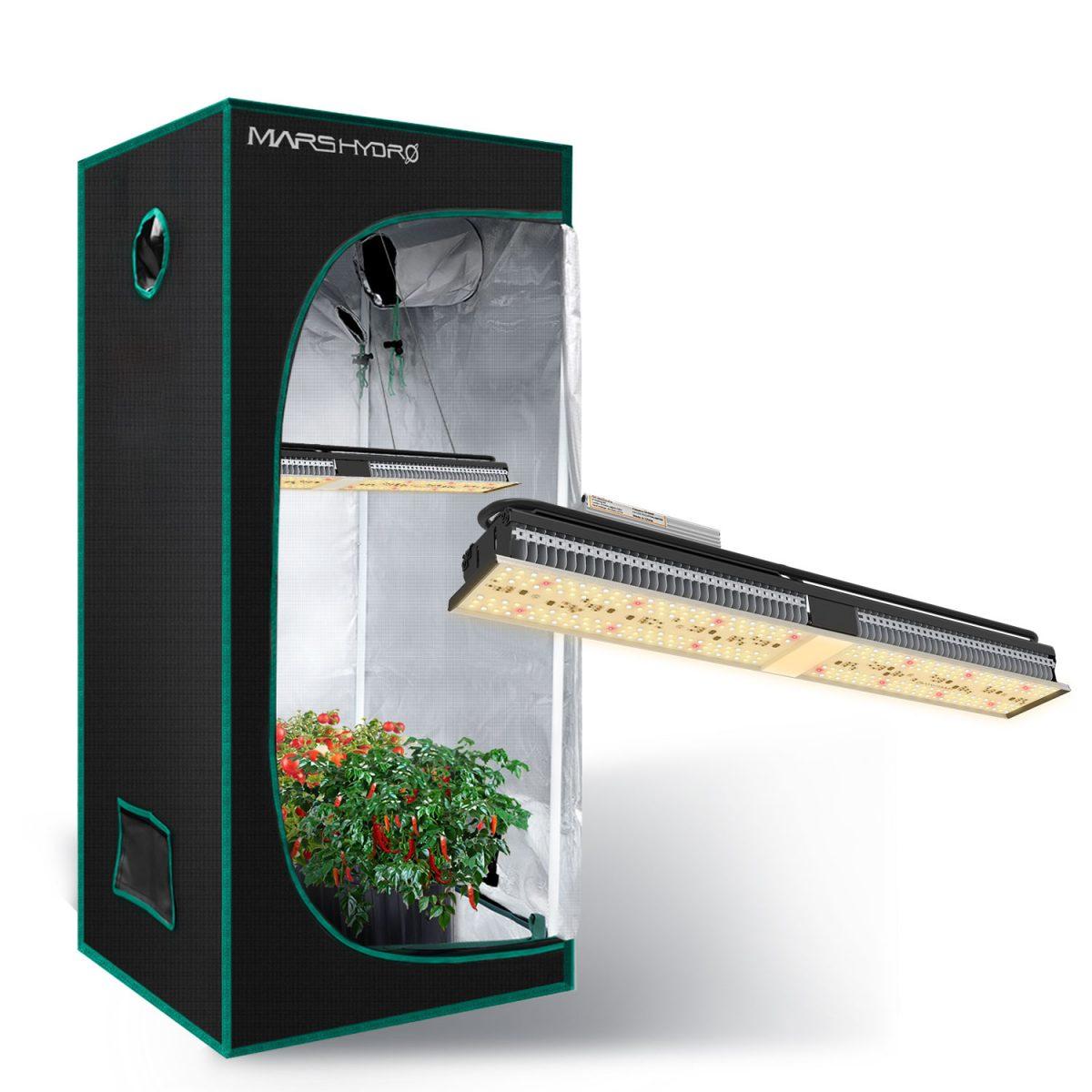 SP150 Led grow light with 70x70x160cm grow tent