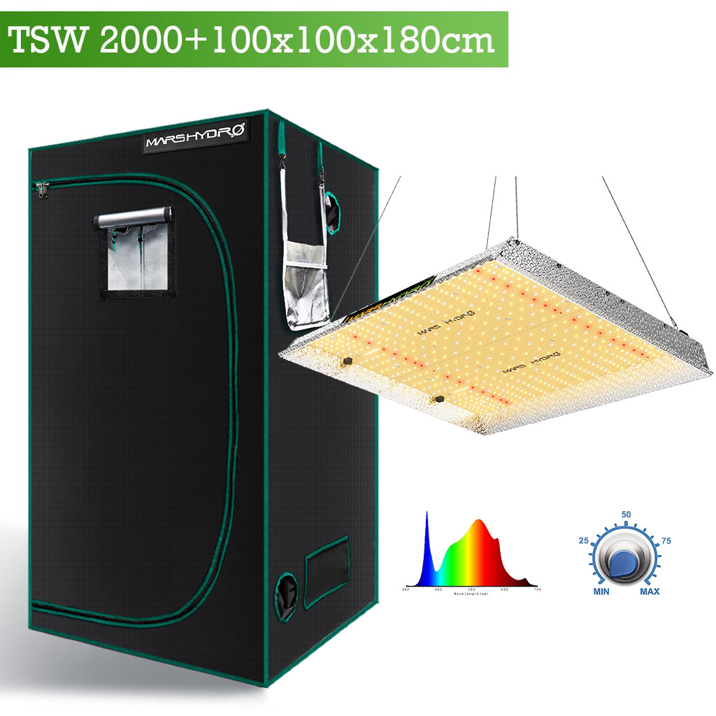 Mars Hydro TSW2000 with 100x100x180cm grow tent combo